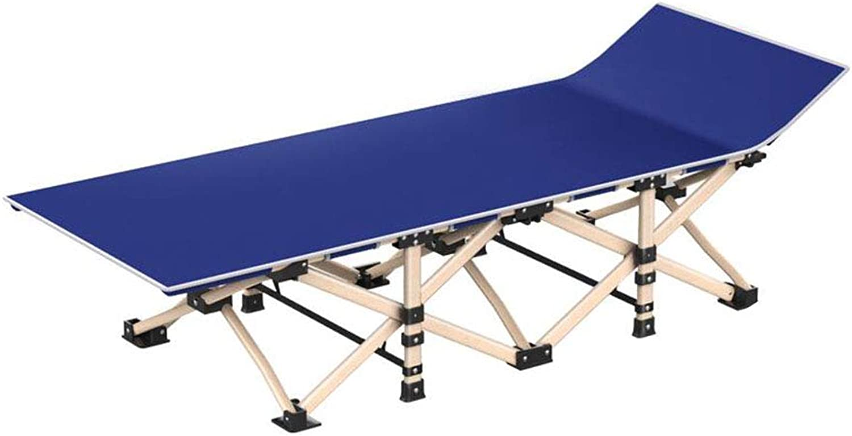 Dall Campingbett Klapp- Camping Bett Single Stahlrahmen Beine Draussen Reise Tragbar (Farbe   Blau)