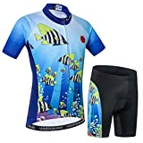 Niños Ciclismo Jersey Conjunto Ropa Niños Niñas Pantalones Cortos Pad Trajes -  Azul -  Small