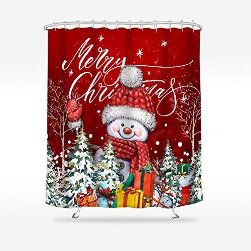 Wasserrhythm Merry Christmas Shower Curtain Snowman