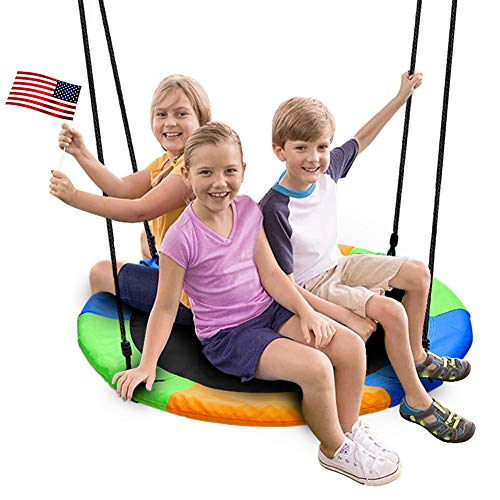 Juegoal 40 Inch Saucer Tree Swing, Large Rope Swing with Children Swing Platform Bonus Carabiner for...