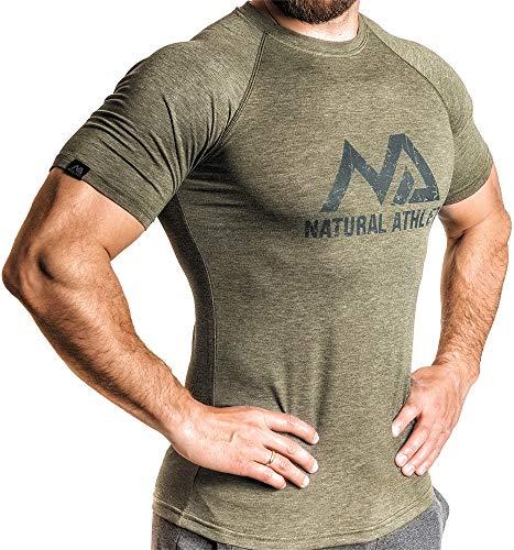 Natural Athlet Herren Fitness T-Shirt meliert - Männer Kurzarm Shirt für Gym & Training - Passform Slim-Fit, lang mit Rundhals, M, Olive