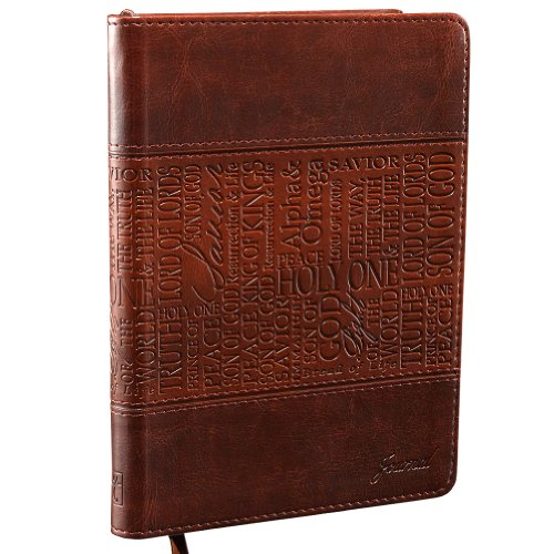 Christian Art Gifts Two-Tone Brown Faux Leather Journal | Names Of Jesus | Handy-sized Flexcover Inspirational Notebook w/Ribbon Marker, 240 Lined Pages, Gilt Edges, 5.5 x 7 Inches