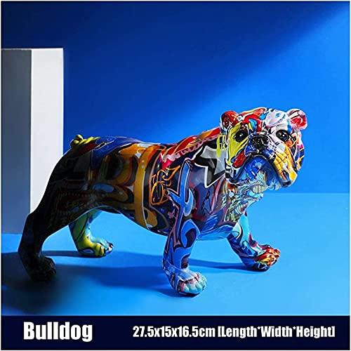 Artisanat Unique Statue Creative Color Bulldog Chihuahua Dog Statue de Chien Figurine Sculpture de résine Accueil Barreau Bar Magasin Décoration Ornement Artisanat Figurine (Color : Bulldog)