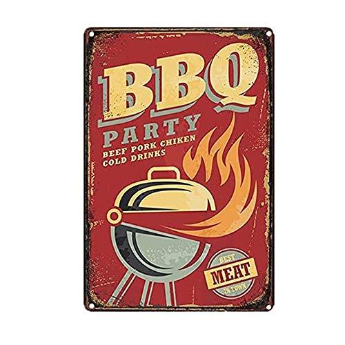Mopoin Cartel de chapa retro, BBQ retro, cartel de chapa de cerveza, cartel de metal vintage con diseño de cerveza para cafetería, bar, pub, decoración de pared de habitaciones, 20 x 30 cm