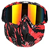 PiscatorZone Motorcycle Goggles Mask, Tactical Glasses with Detachable Mask Adjustable Windproof Outdoor Paintball Airsoft Mask for Kids Men Women
