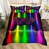 Castle Fairy Gamer-Bettbezug in voller Größe, Spielspieler-Videospiele, Tagesdecke mit 2 Kissenbezügen, für Teenager, Erwachsene, modisches Geburtstagsgeschenk, 3-teilig, dekorativer Bettbezug