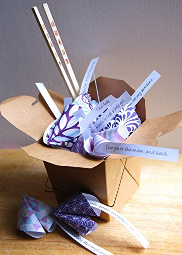 Personalized Paper Origami Fortune Cookies in Takeout Box and Chopsticks with Customized Messages Baby Shower Korean Baek-il Birthday Gift