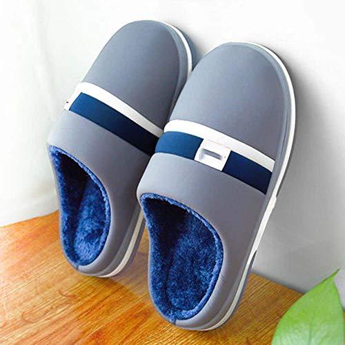 MKXF Abajo Calientes Cubierta Antideslizante Zapatos Zapatillas de algodón Extra Grueso de los Hombres Grandes,50—51