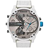 xiaoxioaguo Impermeable gran dial de los hombres reloj de lujo doble cuarzo reloj de los deportes de acero inoxidable calendario reloj de hora reloj blanco