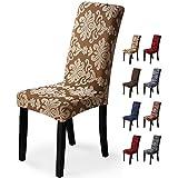 Fundas para sillas 4 Piezas Funda de Silla Comedor Stretch Cubiertas para sillas Extraíble Lavable Cubierta de Asiento Fundas sillas Duradera Modern Boda Decor Restaurante(4Piezas,Jacquard-Beige)