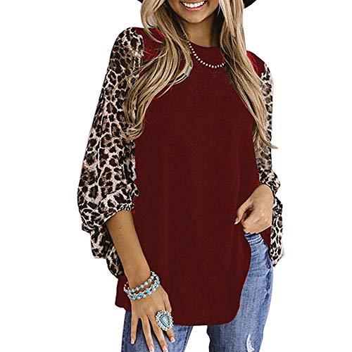 Camisa con Estampado de Leopardo de Mujer Jersey de Bloque de Color de Retazos Tops Ligeros Sueltos Casuales de Manga Larga (Vino Rojo, XL)