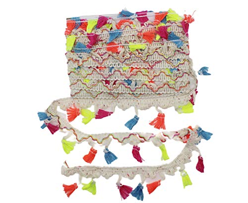 Yalulu 5 Yards Rainbow Tassel Lace Trim Cotton Fabric Ribbon Fringe Drop for Dress Skirt Extender Curtain Home Decor DIY Craft Supply (White)