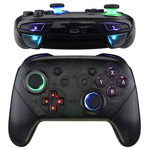 eXtremeRate Tasten Thumbsticks D-pad ABXY ZR ZL L R Knöpfe DTFS LED Kit für Nintendo Switch Pro Controller-Symbols Leuchttaste(9 Farben Modi 6 Bereiche Optionstasten Control)