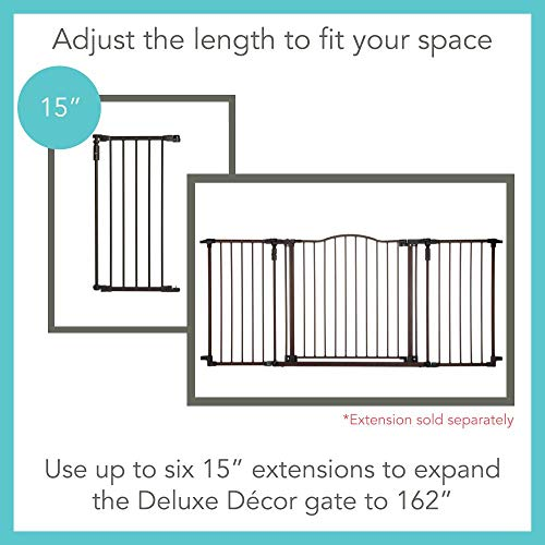 North States 72 Wide Deluxe Décor Baby Gate: Provides safety in extra-wide spaces with added one-hand functionality. Hardware mount. Fits 38.3-72 wide (30 tall, Bronze)