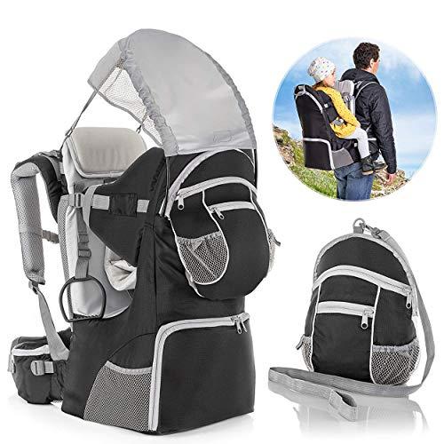 Fillikid Rückentrage - Rücken Babytrage mit Sonnenschutz, Gurt, Kinder Rucksack und Staufächern - Kraxe zum Wandern mit Baby und Kleinkind, bis 18 kg - Grau