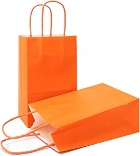 AZOWA Gift Bags Small Kraft Paper Bags with Handles (8 x 6 x 3 in, Orange, 25 Pcs)