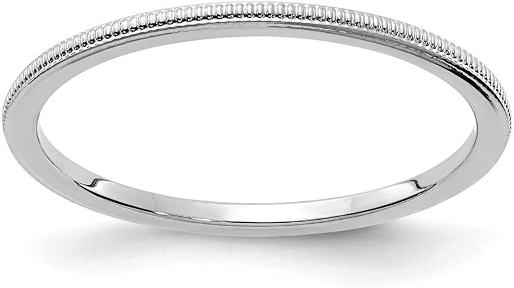 Solid 14K White Gold 1.2mm Milgrain Stackable Band Thin Wedding Anniversary Ring