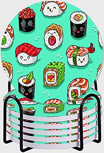 GUVICINIR Juego de 6 Posavasos de cerámica Absorbente con Base de Corcho,Apto para Tipos de Tazas,Lindo patrón sin Costuras con Rollos de Dibujos Animados y Sushi en Estilo Kawaii