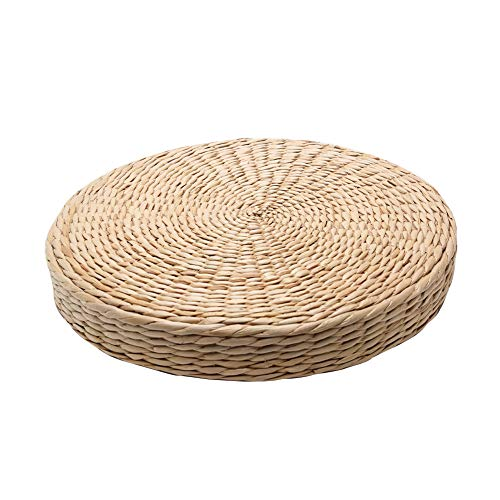 Woven Grass Cushion, Handcrafted Eco-Friendly Padded Knitted Straw Flat Seat Cushion, Tatami Yoga Floor Seat Pillow Cushions, Floor Pillow Meditation Pillow