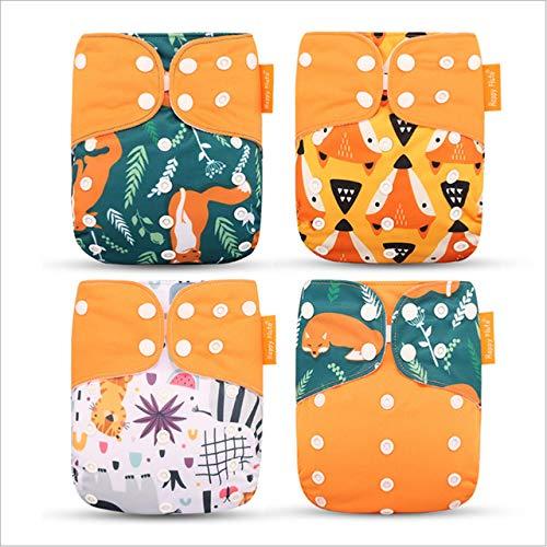 KwuLee 4 Pack Baby Stoffwindeln Set überhosen für Stoffwindel Komfortable Atmungsaktive Wiederverwendbare Waschbare Windeln für Babys und Kleinkinder (Orange + Fuchs + Eichhörnchen)