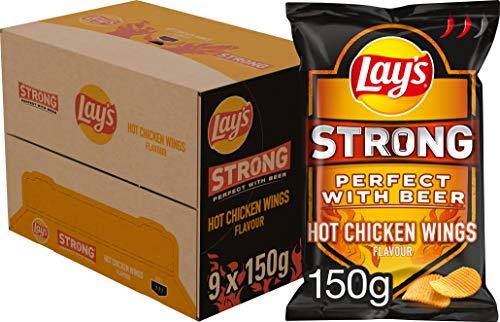 Lays Strong Chips Hot Chicken Wings, Schachtel 9 Stück x 150 g