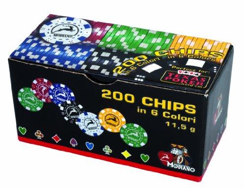 Modiano 3065902 Set da 200 chips,  11.5 g, con valore stampato, in 6 colori