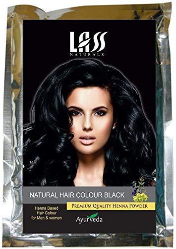 Glamorous Hub Lass Naturals Hair Color (negro) - Polvo de henna natural con propiedades nutritivas y acondicionadoras profundas 100G - Cuidado del cabello (el empaque puede variar)