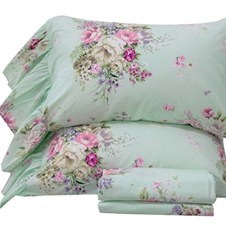 Queen's House 4-Piece French Country Green Bed Sheet Sets Cotton Full Size-Style K