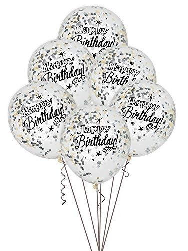 Zilverkleurige glitter verjaardag Latexballonnen 12