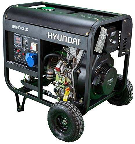 Hyundai HY-DHY6000LEK GENERADOR Diesel, 14 litros, Negro/Plata