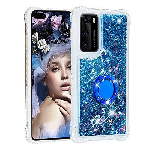 Funda para Samsung Galaxy M51 con soporte para anillo, 3D Glitter Quicksand fluye líquido, brillante, transparente, de gel de TPU de silicona delgada a prueba de golpes, color azul