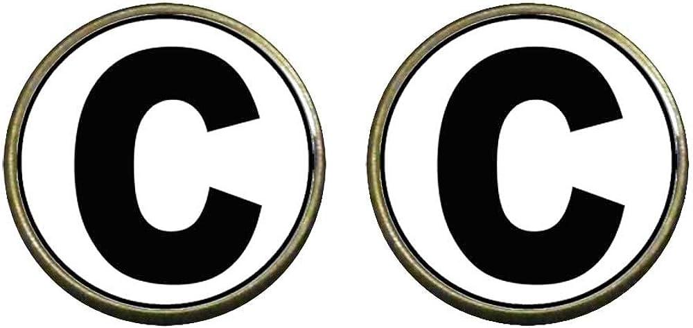 GiftJewelryShop Bronze Retro Style Black Letter C Photo Clip On Earrings 14mm Diameter