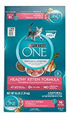 One (1) 16 lb. Bag - Purina ONE Natural Dry Kitten Food, Healthy Kitten Real chicken is the #1 ingredient High protein helps support strong muscles 0% fillers means all of the high-quality ingredients have a purpose Natural plus essential nutrients