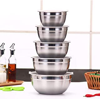 JUNSHUO 5pcs Stainless Steel Kitchen Mixing Bowl Set with Lids, Nesting Bowls, Using As Salad Bowl, Baking Bowl, Perfect for Mixing, Beating and Storaging Food,1/1.5/2/2.5/3L