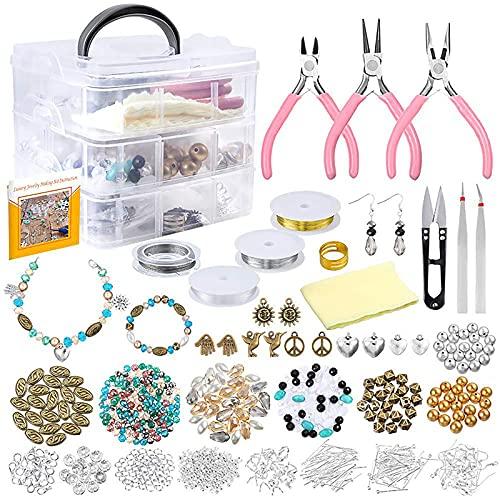 Kudiro Juego de joyería Kit de fabricación de joyas de cristal perla especial en forma de pulsera colgante de joyería