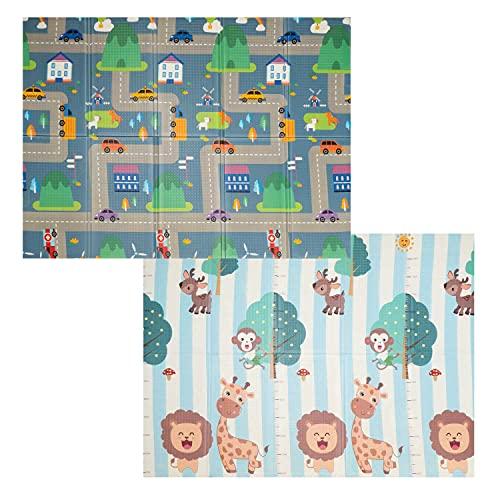 XXL Baby Spielmatte, Baby Krabbelmatte, faltbare Baby Bodenmatte, ungiftig, XPE Schaumstoff, beidseitig bedruckt und wasserdicht für Innen oder Außen (197 x 148 x 1cm)