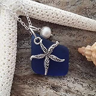 Handmade in Hawaii, cobalt sea glass necklace, starfish charm, Freshwater pearl,