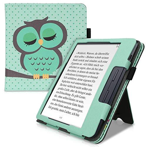 kwmobile hoes compatibel met Kobo Libra H2O – Hoesje voor ereader in turquoise/bruin/mintgroen – Slapende Uil – Met…