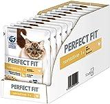 PERFECT FIT Sensitive 1+ - Comida húmeda para Gatos Adultos sensibles a Partir de 1 año - Pollo en Salsa - Sin Trigo y Soja - Soporta la digestión - 12 x 85 g