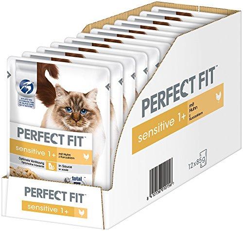 Perfect Fit Sensitive 1+, nat voer voor volwassenen, gevoelige katten vanaf 1 jaar, zonder tarwe en soja, ondersteunt de spijsvertering, verschillende soorten, 12 x 85 g