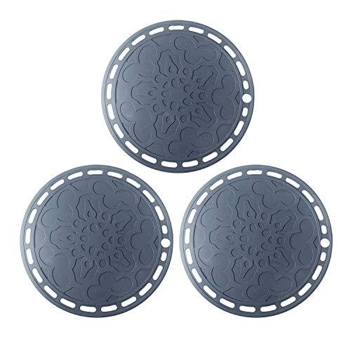 Topfuntersetzer aus Silikon, 20 cm, vielseitig verwendbar, rund, hitzebeständig, rutschfest, flexibel, langlebig, für Geschirr, Theken, Tische, 3er-Set (grau)