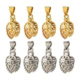 Pandahall 10pcs 2 Colors Brass Ice Pick & Filigree Pinch Bails Leaf Jewelry Pendant Dangle Charms Snap On Clasp Connectors for Jewelry Making DIY Crafts Findings Platinum & Golden