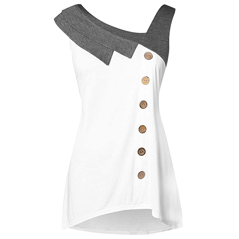 Women's Casual Sleeveless Tops,Loose Color Block Blouse Button T-Shirt Skew Neck Asymmetric Tank Tops Summer Tunic