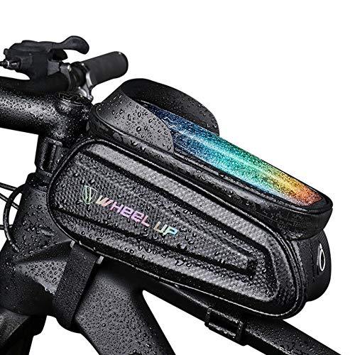 TRGCJGH Bike Frame Bag, Waterproof Resistant Cycling Front Tube Frame Bicycle Crossbar Bag Pouch Holder for Smartphone,A