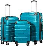 COOLIFE Hartschalen-Koffer Rollkoffer Reisekoffer Vergrößerbares Gepäck (Nur Großer Koffer Erweiterbar) ABS Material mit