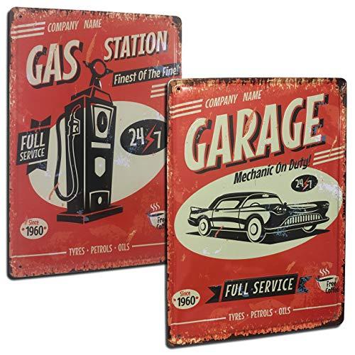 Vintage Auto Blechschild. Set mit 2 dekorativen Blechschildern im Retro-Stil von Autos [Chevrolet + Garage] Für Wohnzimmer, Bar, Werkstatt, Garage, Größe 20 x 30 cm.