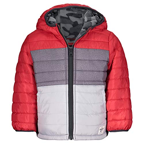 Osh Kosh Boys' Heavyweight Winter Jacket with Sherpa Lining, Red/Grey Color Block, 7