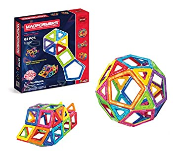 Magformers Basic Set  62-pieces  Magnetic Building Blocks Educational Magnetic Tiles Magnetic Building STEM Toy Multi-colored Model Number  63070