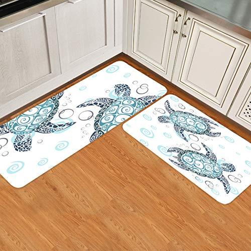Turtle Kitchen Mats Cushioned Anti Fatigue 2 Piece Set Non Skid Waterproof Kitchen Floor Mats, Standing Kitchen Mat Sea Marine Animal Tortoise Turtle