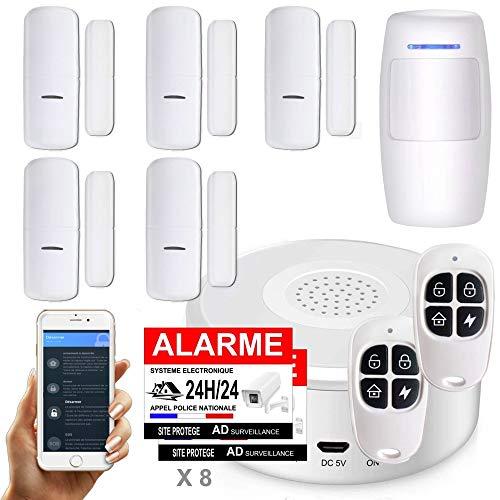 Nouveau - APP Version Française - WI-FI - Alarme de Maison sans Fil -1 Sirène - 5 Détecteurs d'Ouverture (Nouveaux codages numériques) - 1 de Mouvement - 2 Tél - 8 Autocollants - Alarme de Porte